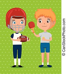 little boys practicing sports happy characters vector...