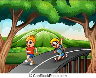 Little boys running on the road