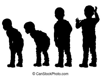 Little boys - Silhouettes of a little boy on a white...