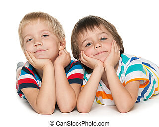 Little boys together on the white background