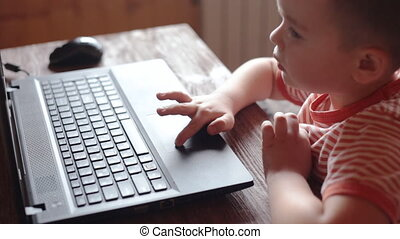 Little boys uses laptop - Little boys use laptop for...