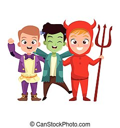little boys with costumes characters vector illustration ...