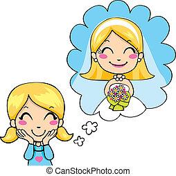 Little Bride Dream - Cute little girl cheerful dreaming...
