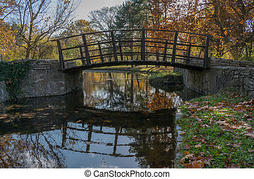 Little bridge on the lake in the park
