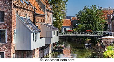 Little bridge over the Damsterdiep river in Appingedam