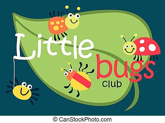 Little bugs club on a green leaf