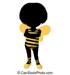 Little Bumble Bee Girl Illustration Silhouette - Little...