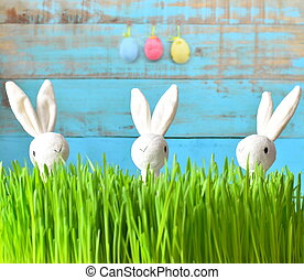 Little bunny and Easter eggs on green grass