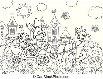 Little bunny carrying Easter eggs in a cart
