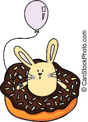 Little bunny inside a donut with balloon