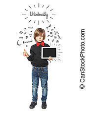 Little business boy with tablet