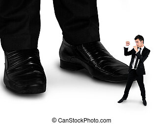 Little business man fighting with boss