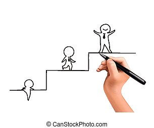 little businessman climbing up stairs drawn by 3d hand