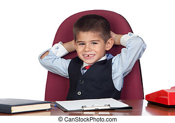 Little businessman relaxed in the office