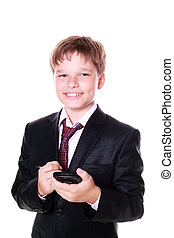 Little Businessman using a PDA isolated on white background