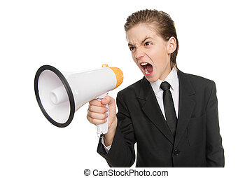 Little businessman with megaphone. Furious little boy in formalwear shouting at megaphone while standing isolated on white