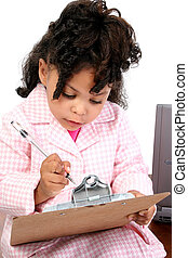 Little Businesswoman - Adorable African American child in...