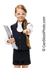 little businesswoman in glasses keeps folder