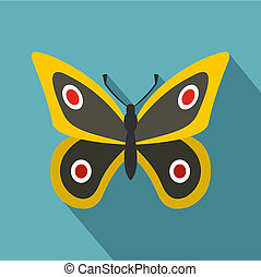 Little butterfly icon, flat style
