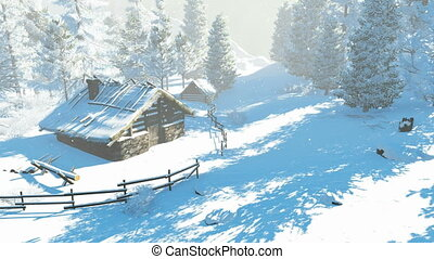 Daytime winter scene. Snow-covered spruces and cozy little hut high in mountains at snowfall. Realistic three dimensional animation.
