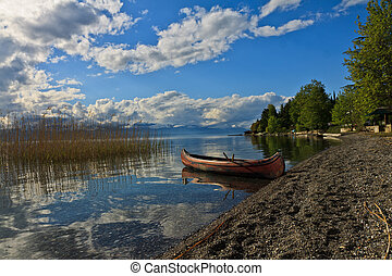 Little canoe at the lake Ohrid, Mazedonia