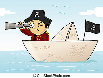 Little captain exploring the world in paper boat vector cartoon illustration.