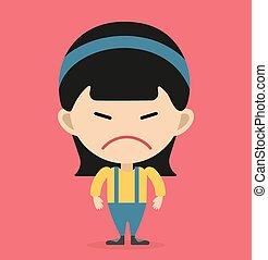 Little cartoon angry girl