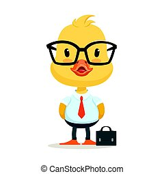Little cartoon duckling character wearing as office worker, cute emoji vector Illustration