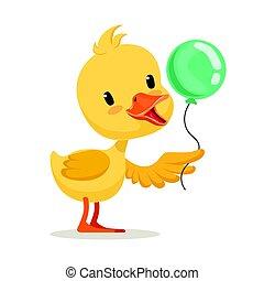 Little cartoon duckling character holding blue balloon, cute emoji vector Illustration