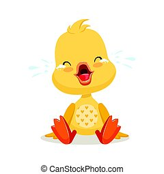 Little cartoon duckling crying, cute emoji character vector Illustration