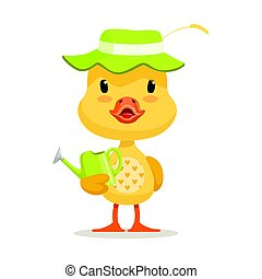 Little cartoon duckling wearing green hat standing and holding watering can, cute emoji character vector Illustration