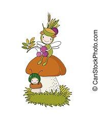 Little cartoon fairy sitting on a mushroom.