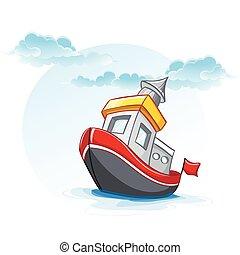 little cartoon illustration of a ship