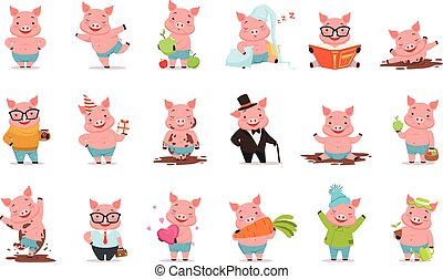 Little cartoon pigs characters posing in different...