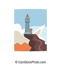 Little castle on top of cliff. Fantasy fortress on mountain peak surrounded by blue sky and white clouds. Flat vector design for print, game or children s book cover