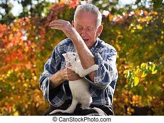 Little cat biting senior man's hand