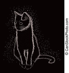 Little cat black and white, vector illustration