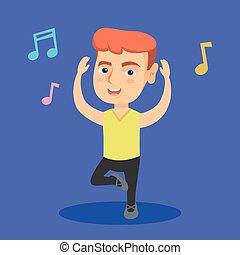 Little caucasian boy dancing. Full length of happy smiling ...