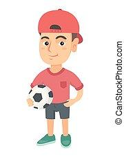 Little caucasian boy holding a football ball.