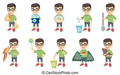 Little caucasian boy vector illustrations set.
