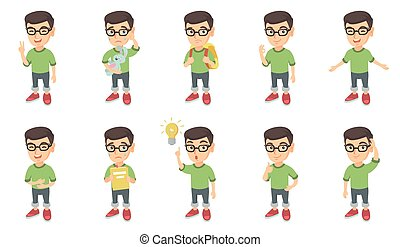 Little caucasian boy vector illustrations set.