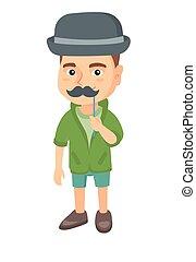 Little caucasian boy with a fake mustache. - Little...