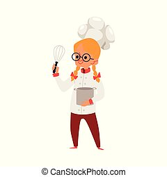 Little Caucasian girl blonde with glasses and a cook uniform and hat.