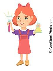 Little caucasian girl holding test tube and beaker