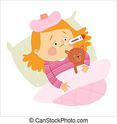 Little Caucasian girl ill in bed with thermometer and hugging teddy bear. Cartoon vector hand drawn eps 10 illustration isolated on white background in a flat style.