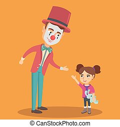 Little caucasian girl playing with clown.