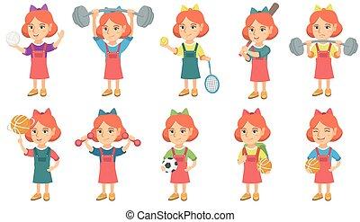 Little caucasian girl vector illustrations set.