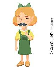 Little caucasian girl with a fake mustache. - Little...