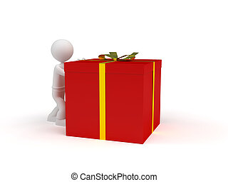 little character push a red gift box