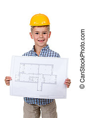 Little cheerful builder in yellow hardhat with paper plan in hands, isolated on white